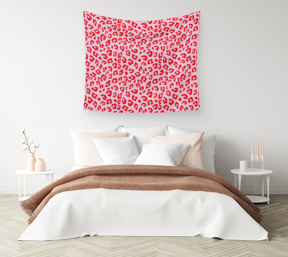 Aperçu de Leopard Print - Red and Pink Wall Tapestry #1