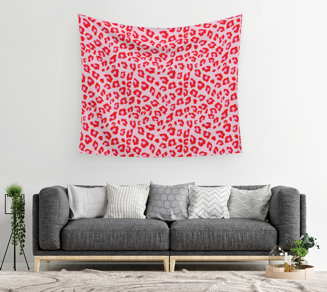 Aperçu de Leopard Print - Red and Pink Wall Tapestry #2