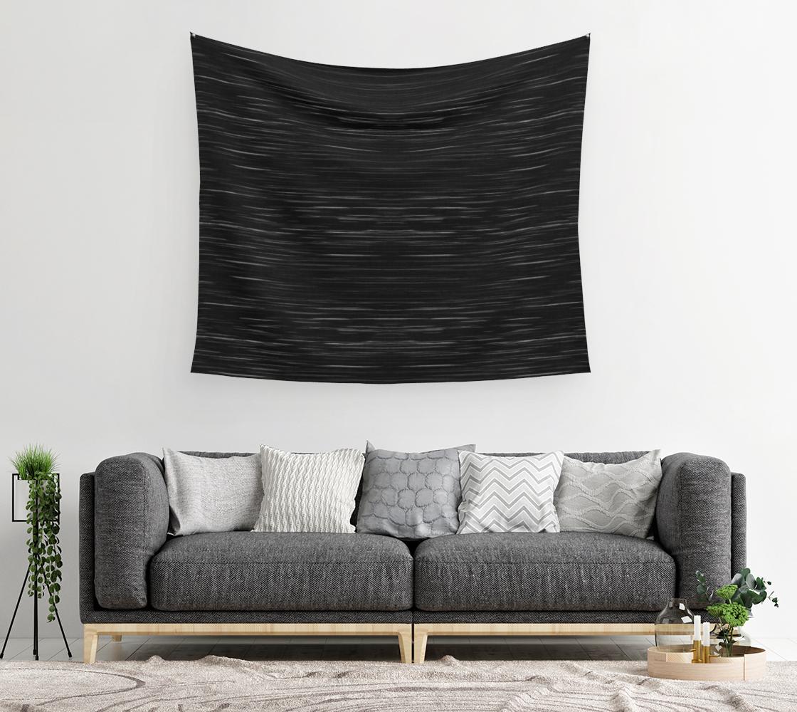 Aperçu de Meteor Stripes - Deep Black Wall Tapestry #2