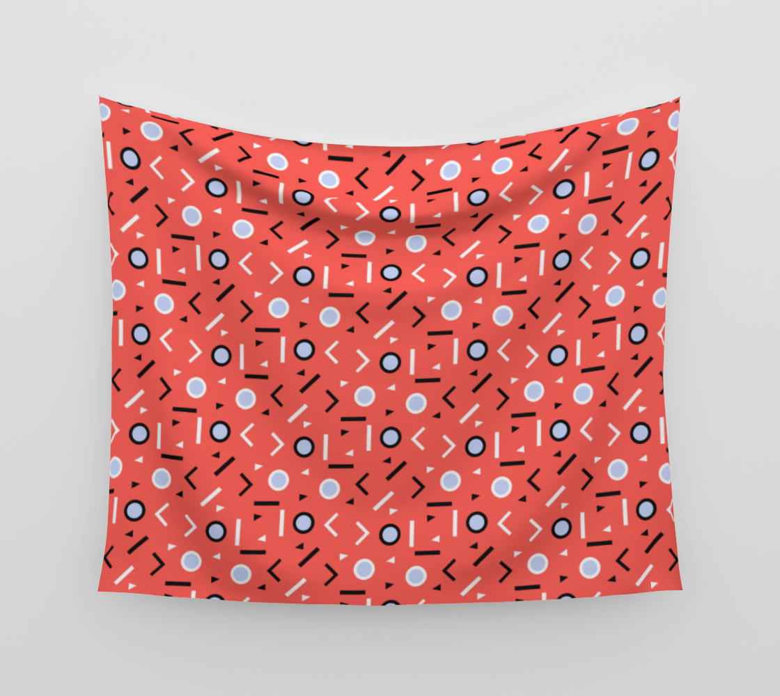 Memphis Tribes - Coral Wall Tapestry preview