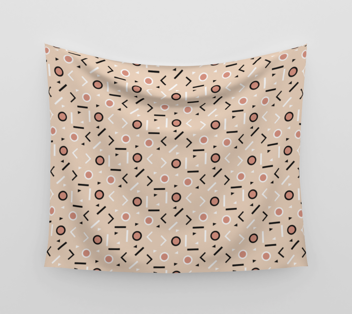 Memphis Tribes - Warm Beige Wall Tapestry preview