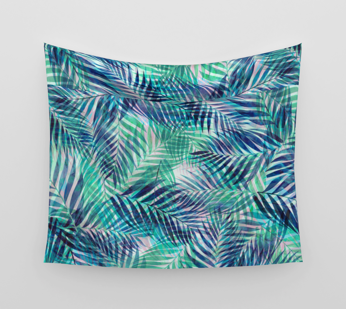Palm Leaves - Indigo Green Wall Tapestry preview