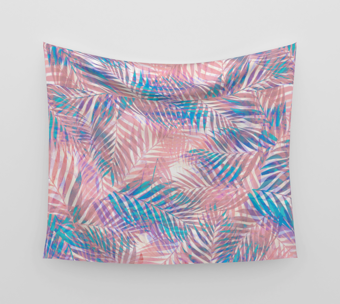 Palm Leaves - Iridescent Pastel Wall Tapestry preview