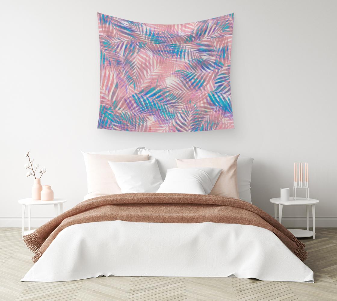 Aperçu de Palm Leaves - Iridescent Pastel Wall Tapestry #1