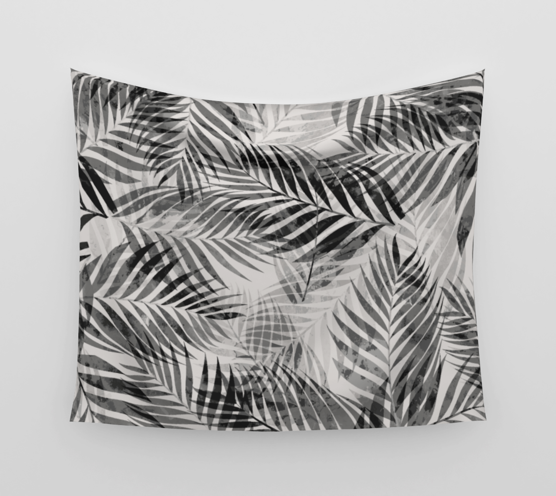 Palm Leaves - Black & White Wall Tapestry preview