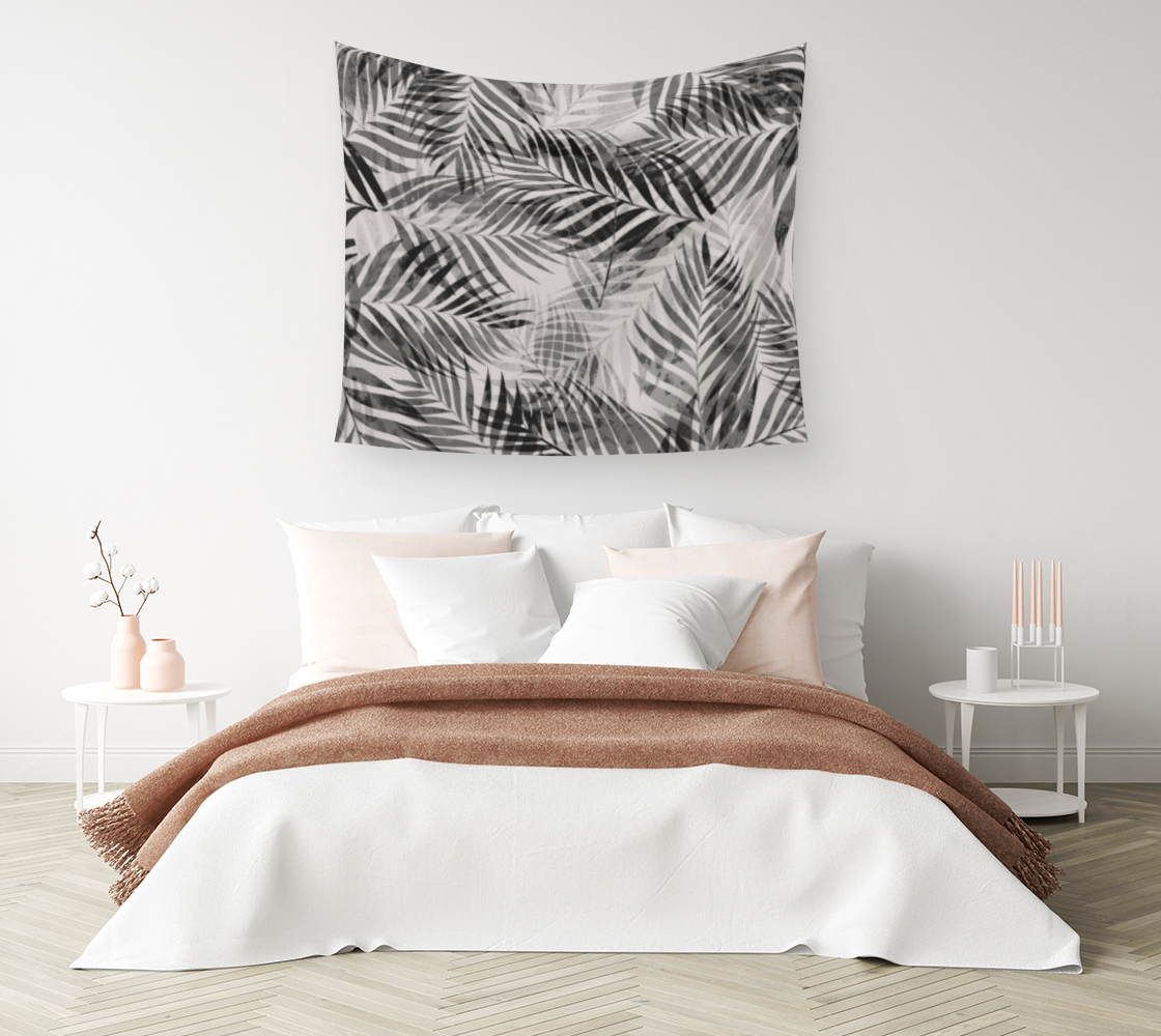 Aperçu de Palm Leaves - Black & White Wall Tapestry #1