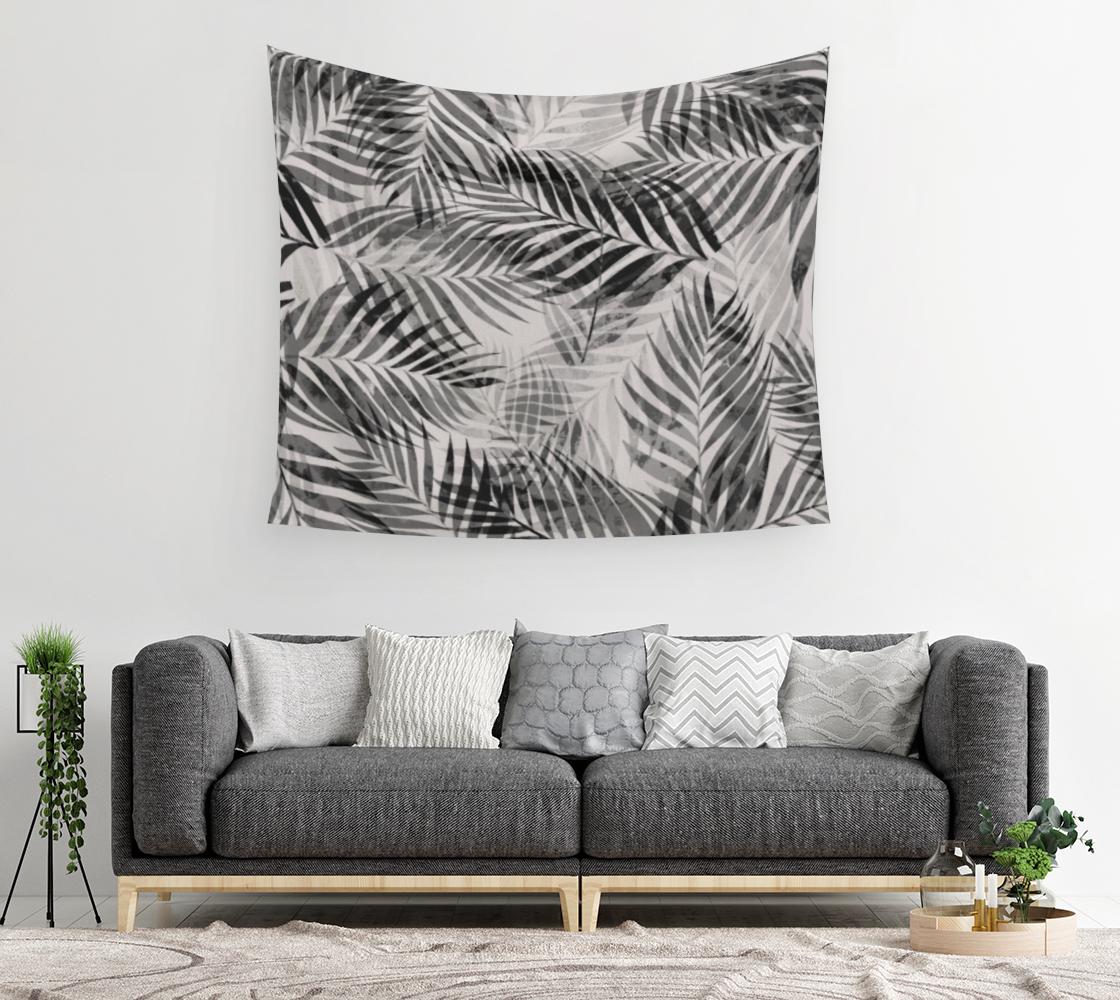 Aperçu de Palm Leaves - Black & White Wall Tapestry #2