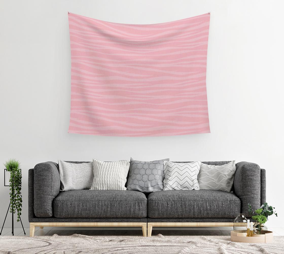 Aperçu de Zebra Print - Pink Marshmallow Wall Tapestry #2