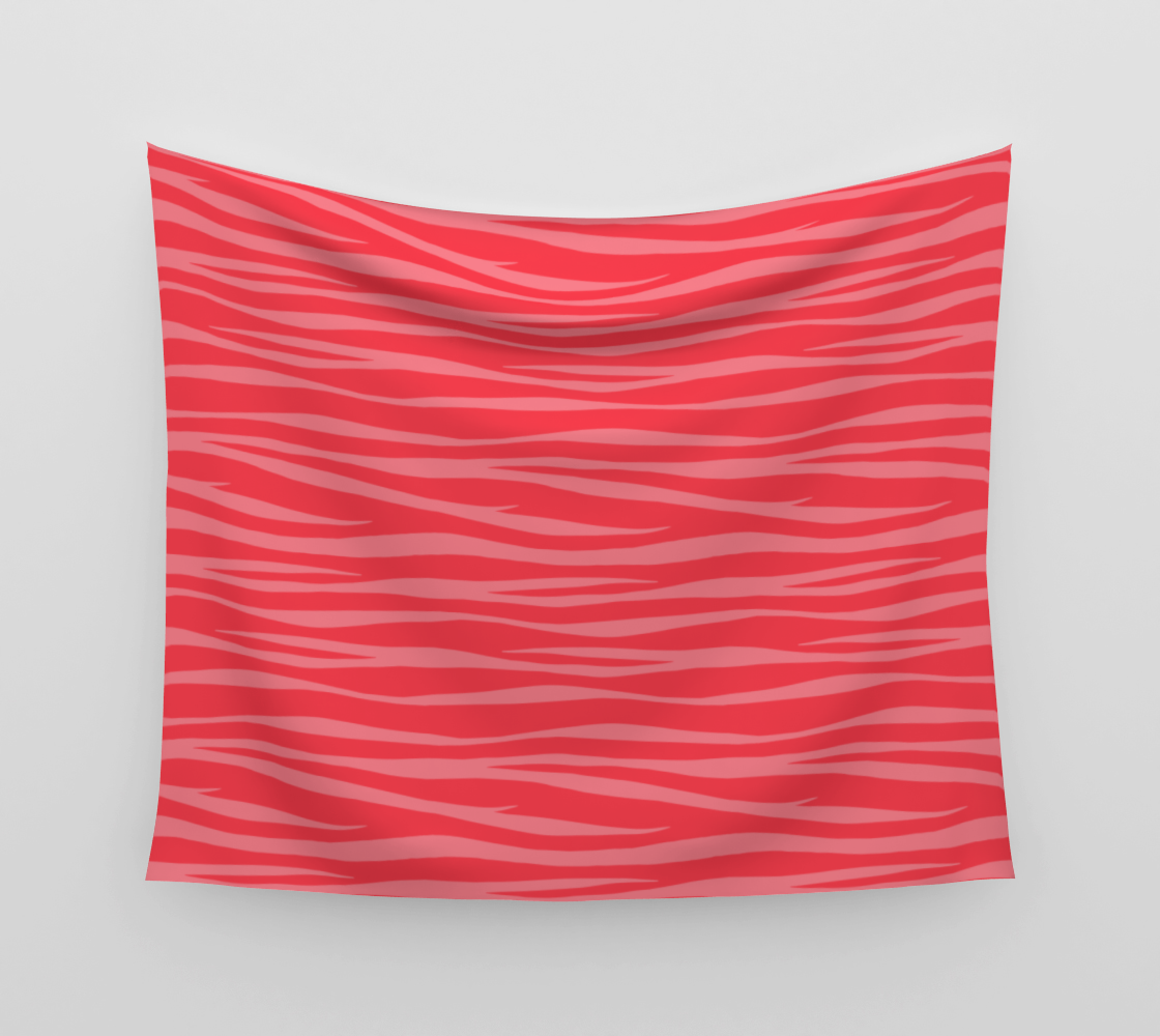 Zebra Print - Coral Macaroon Wall Tapestry preview