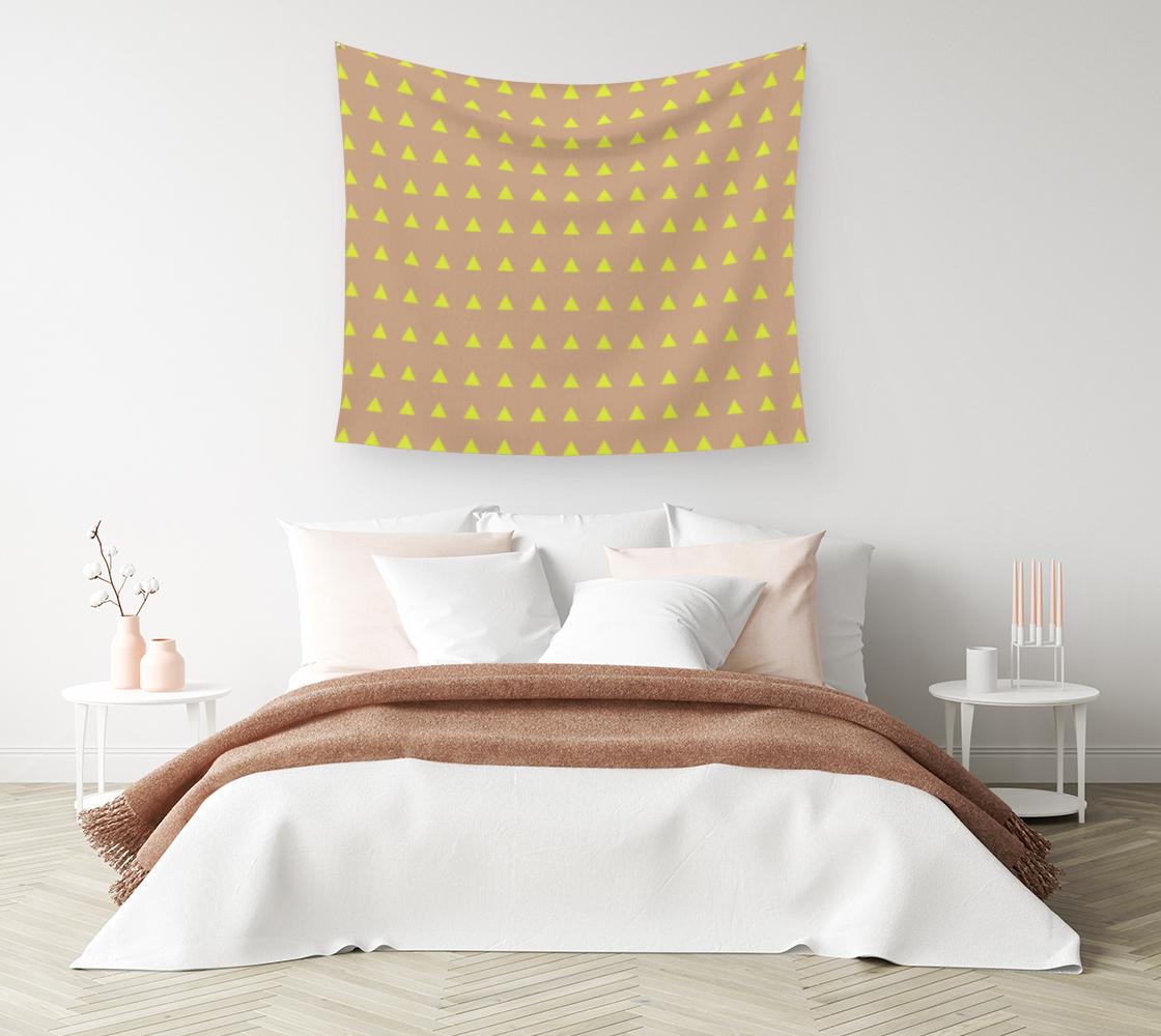 Aperçu de Neon Triangles - Yellow Wall Tapestry #1