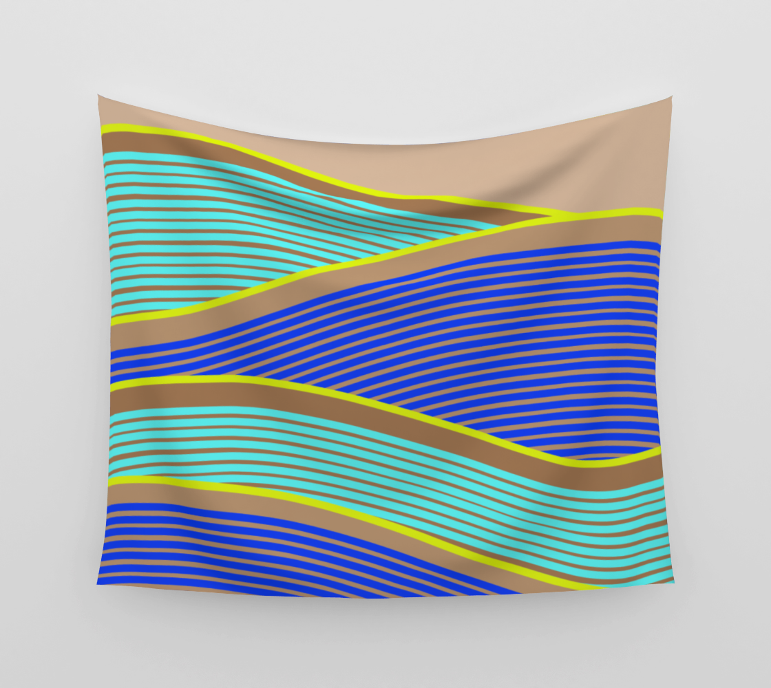Happy Times - Neon Waves Wall Tapestry preview