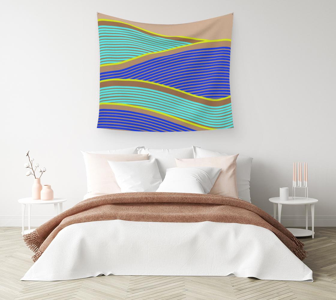 Aperçu de Happy Times - Neon Waves Wall Tapestry #1