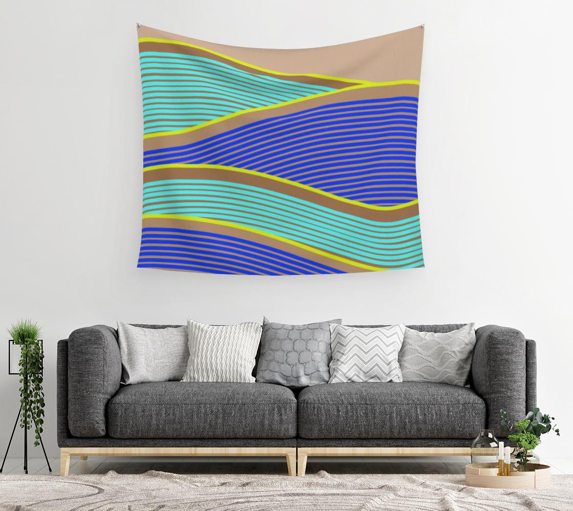 Aperçu de Happy Times - Neon Waves Wall Tapestry #2