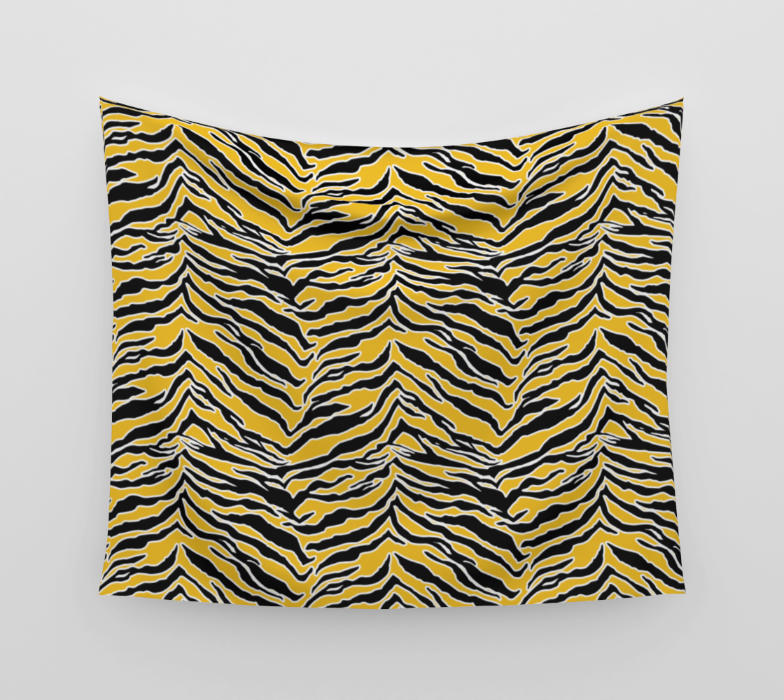 Tiger Print - Mustard Yellow Wall Tapestry preview