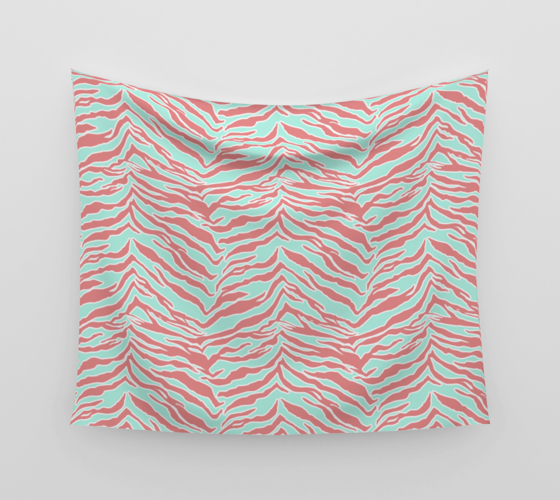 Tiger Print - Blush Mint Wall Tapestry preview