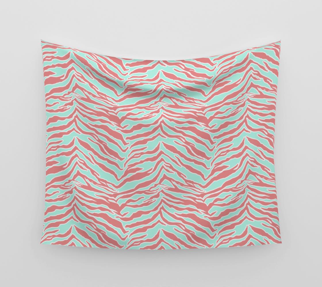 Tiger Print - Blush Mint Wall Tapestry aperçu