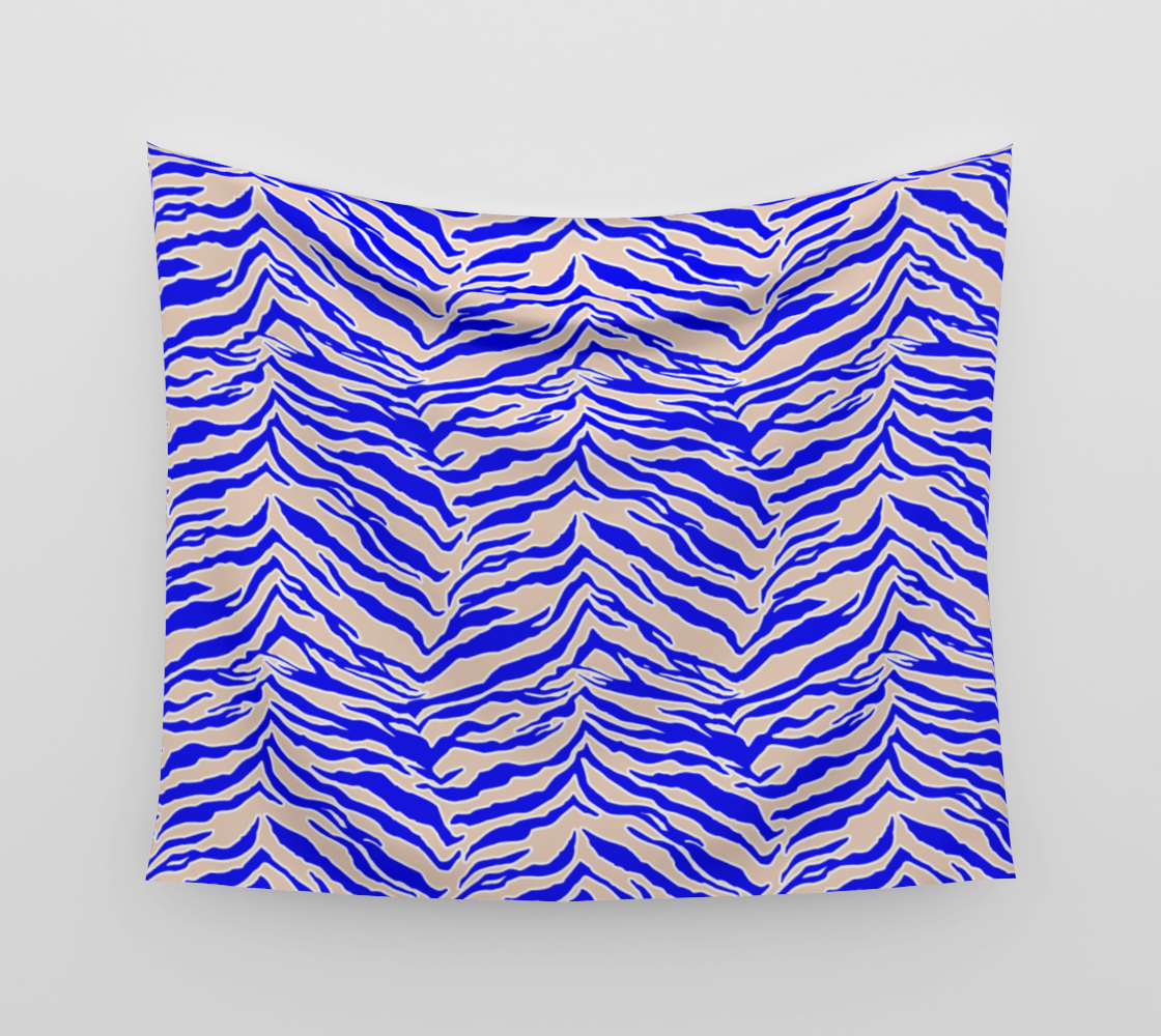 Tiger Print - Cobalt Blue Wall Tapestry preview