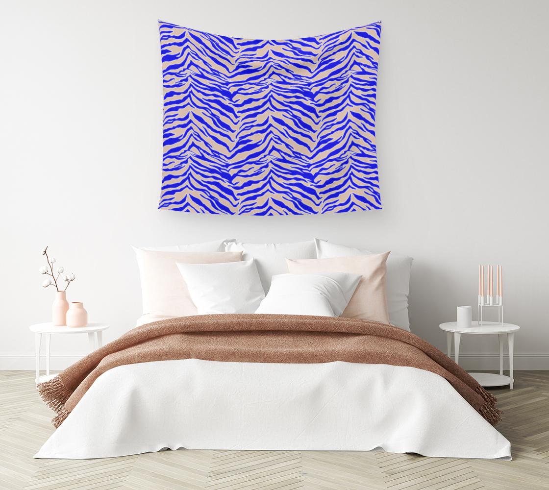 Aperçu de Tiger Print - Cobalt Blue Wall Tapestry #1
