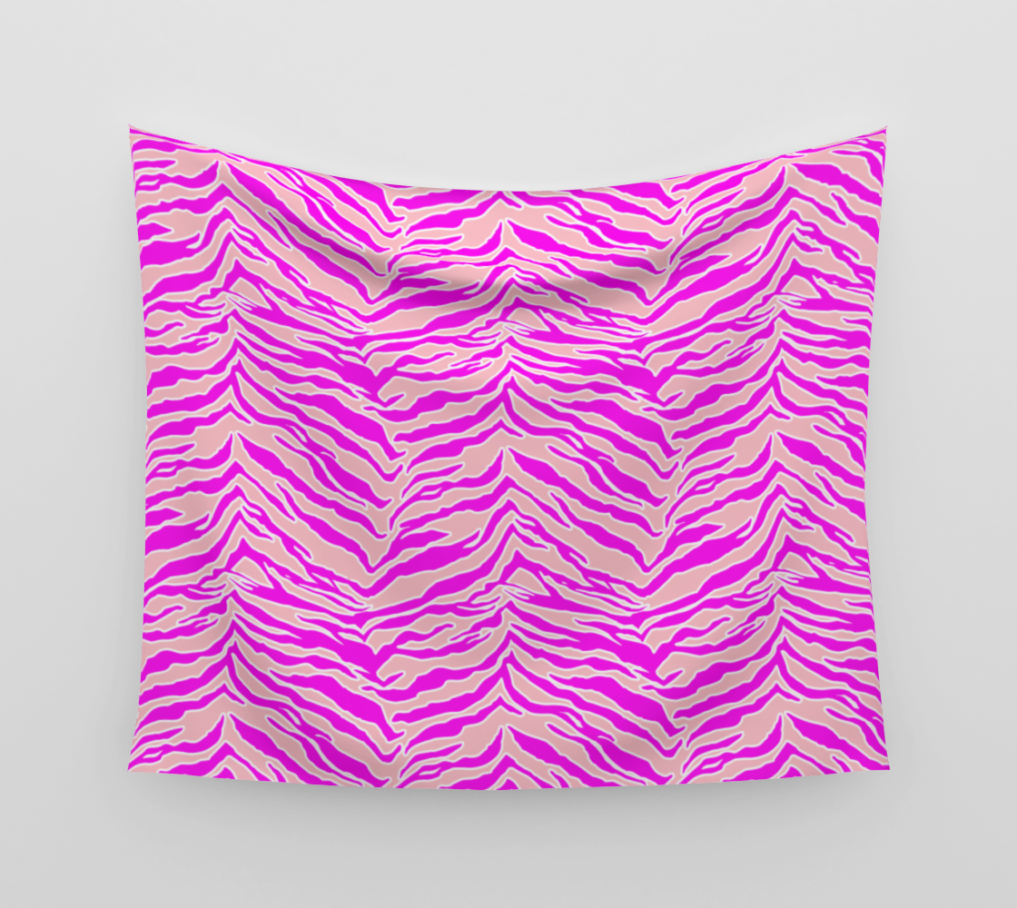 Tiger Print - Pink & Pink Wall Tapestry preview