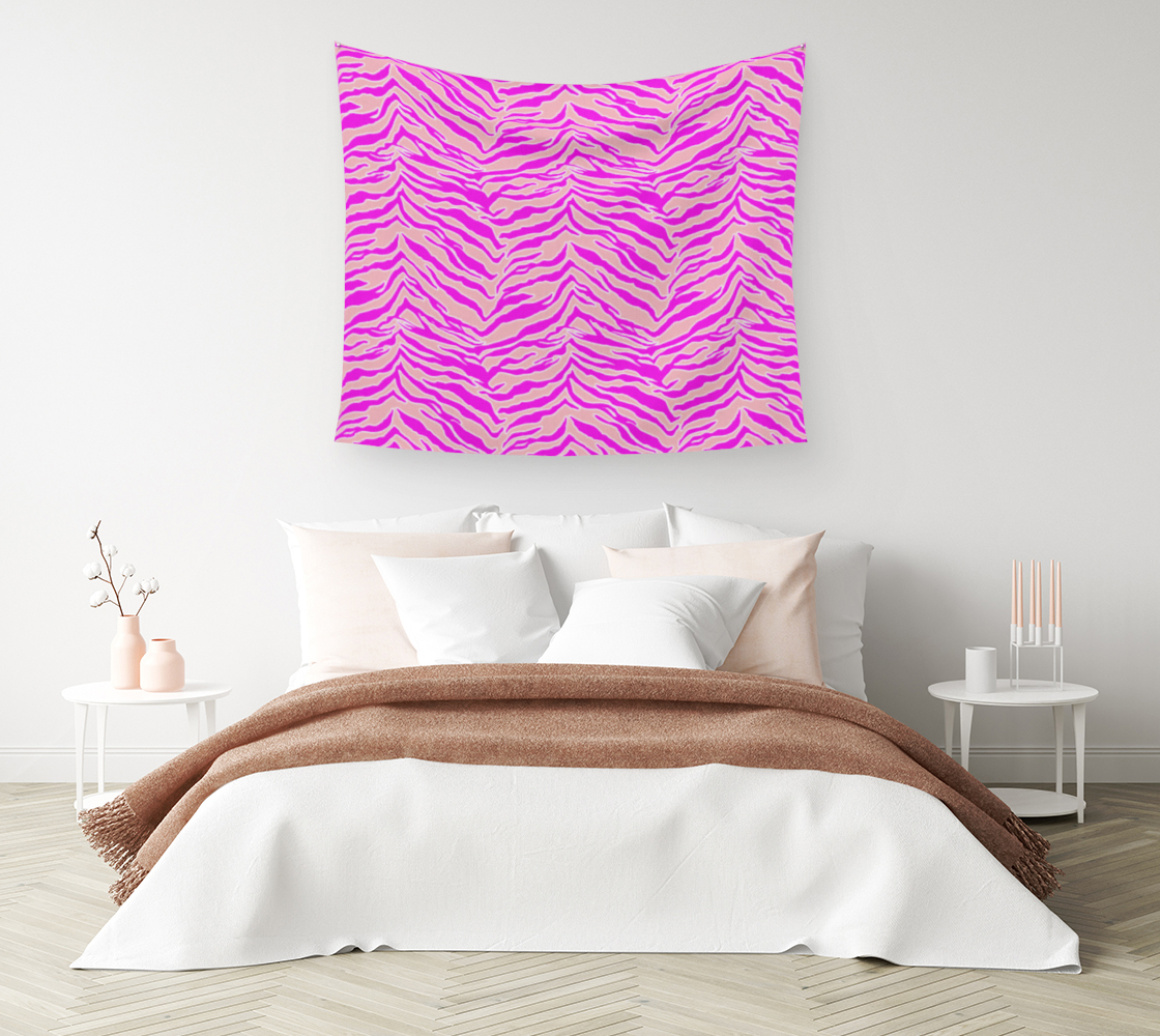 Aperçu de Tiger Print - Pink & Pink Wall Tapestry #1