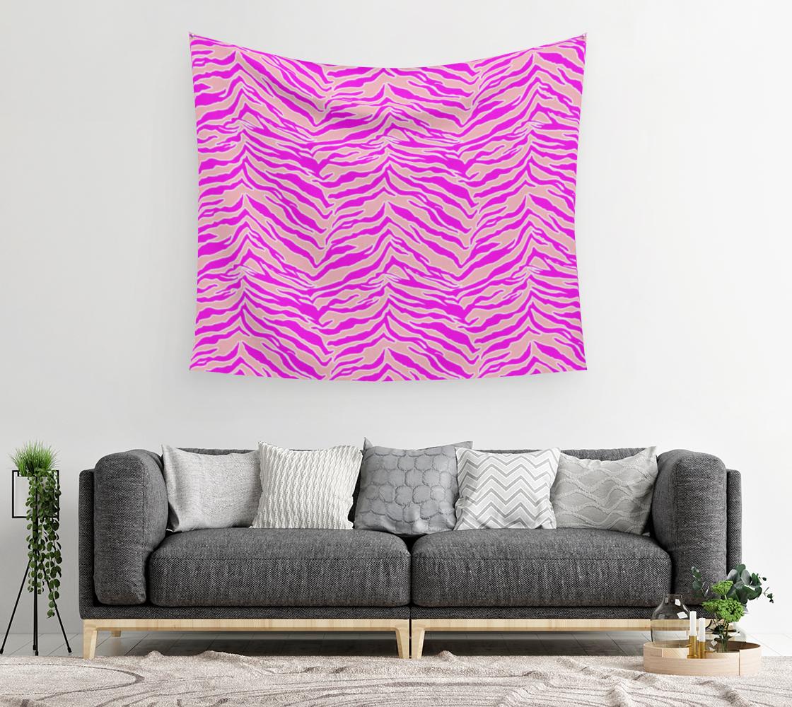 Aperçu de Tiger Print - Pink & Pink Wall Tapestry #2