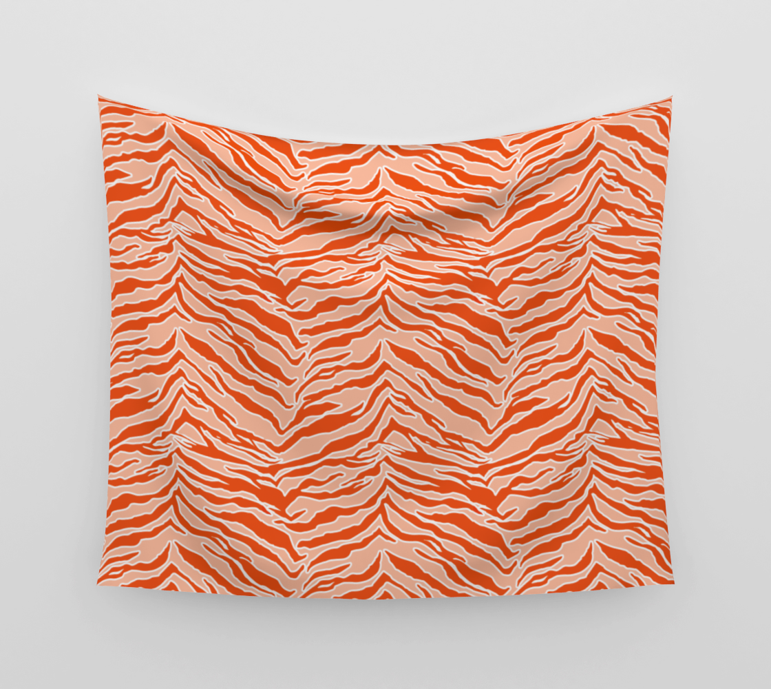 Tiger Print - Orange Wall Tapestry aperçu