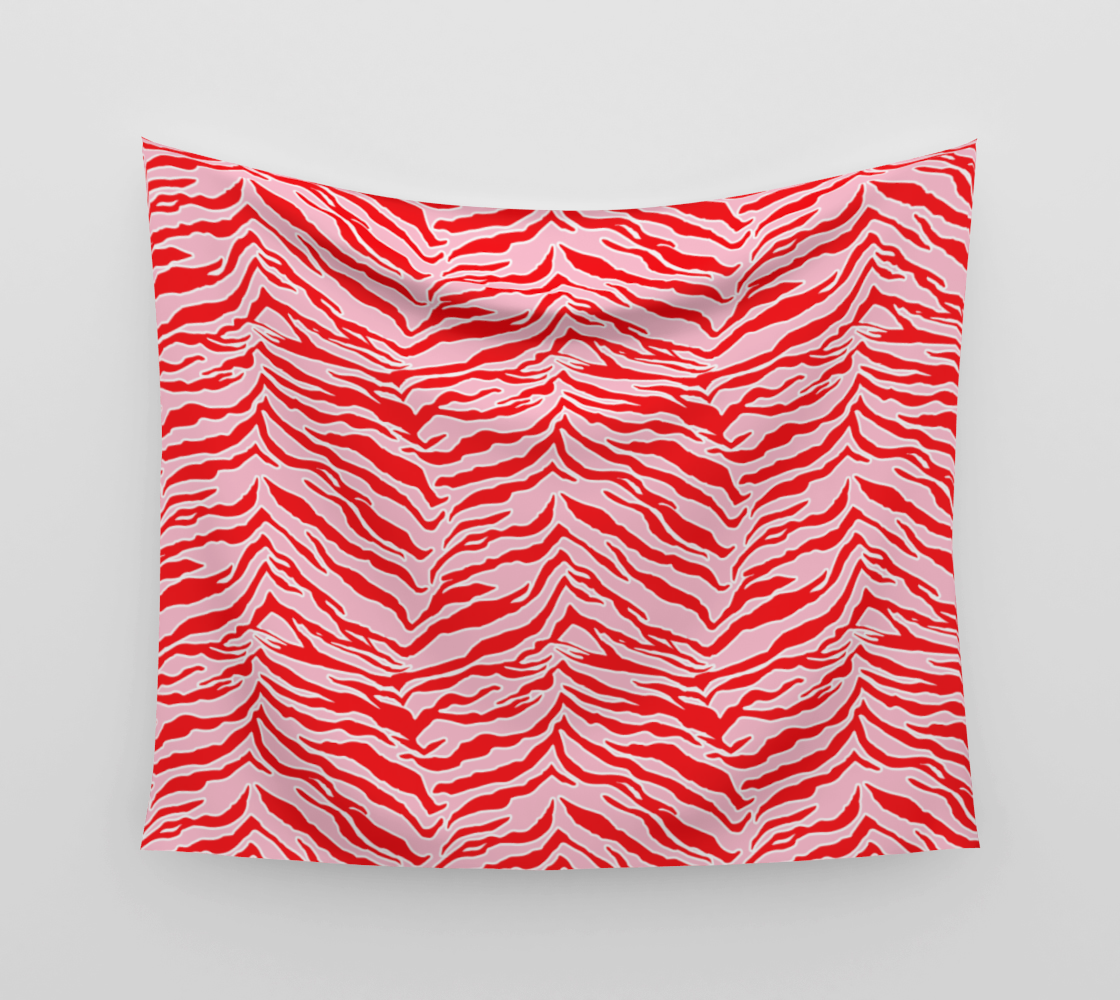 Tiger Print - Red and Pink Wall Tapestry preview
