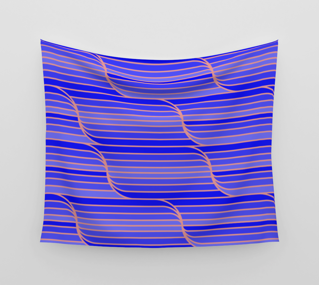 Geo Stripes - Cobalt Blue Wall Tapestry aperçu