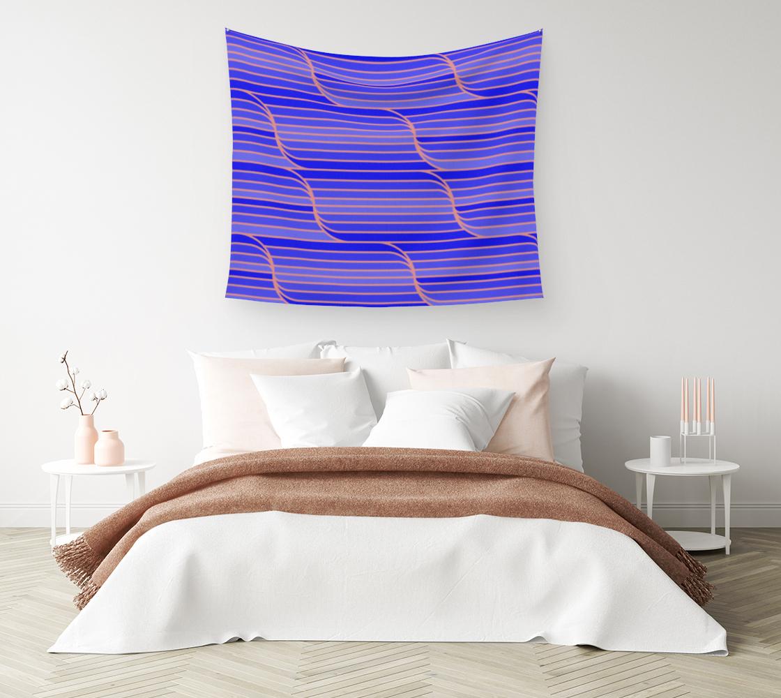 Aperçu de Geo Stripes - Cobalt Blue Wall Tapestry #1