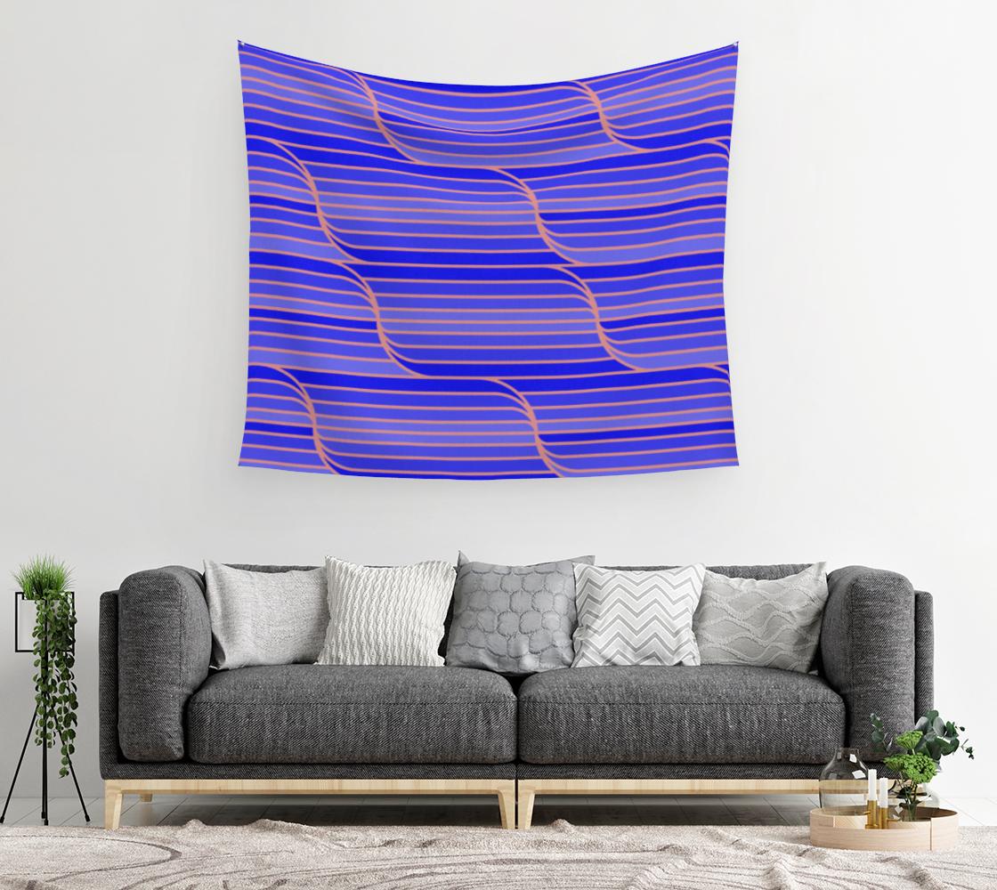 Aperçu de Geo Stripes - Cobalt Blue Wall Tapestry #2