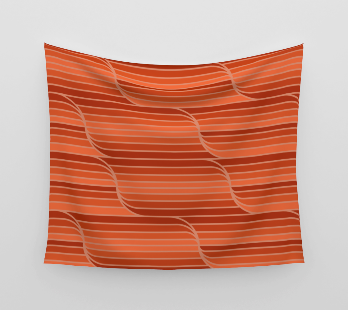 Geo Stripes - Rust Orange Wall Tapestry aperçu