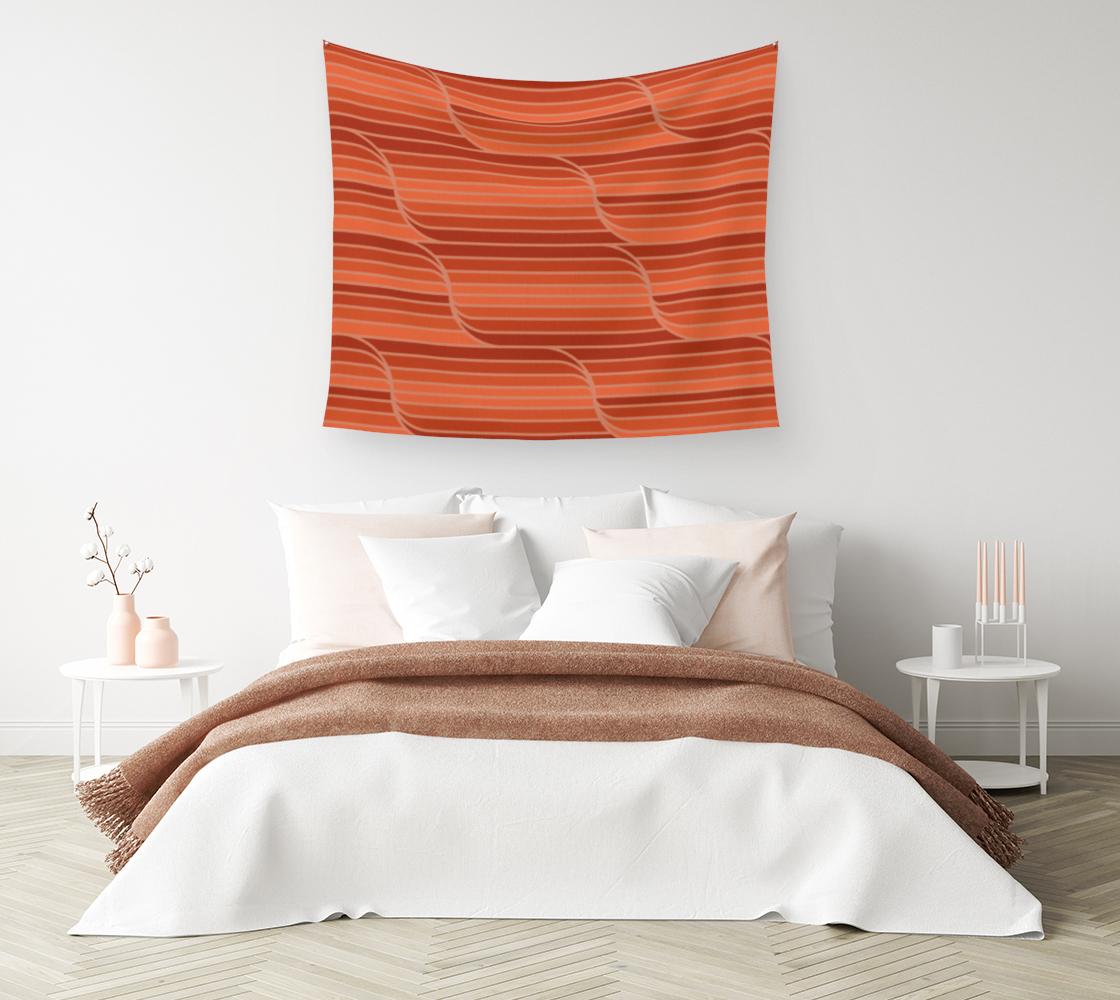 Aperçu de Geo Stripes - Rust Orange Wall Tapestry #1