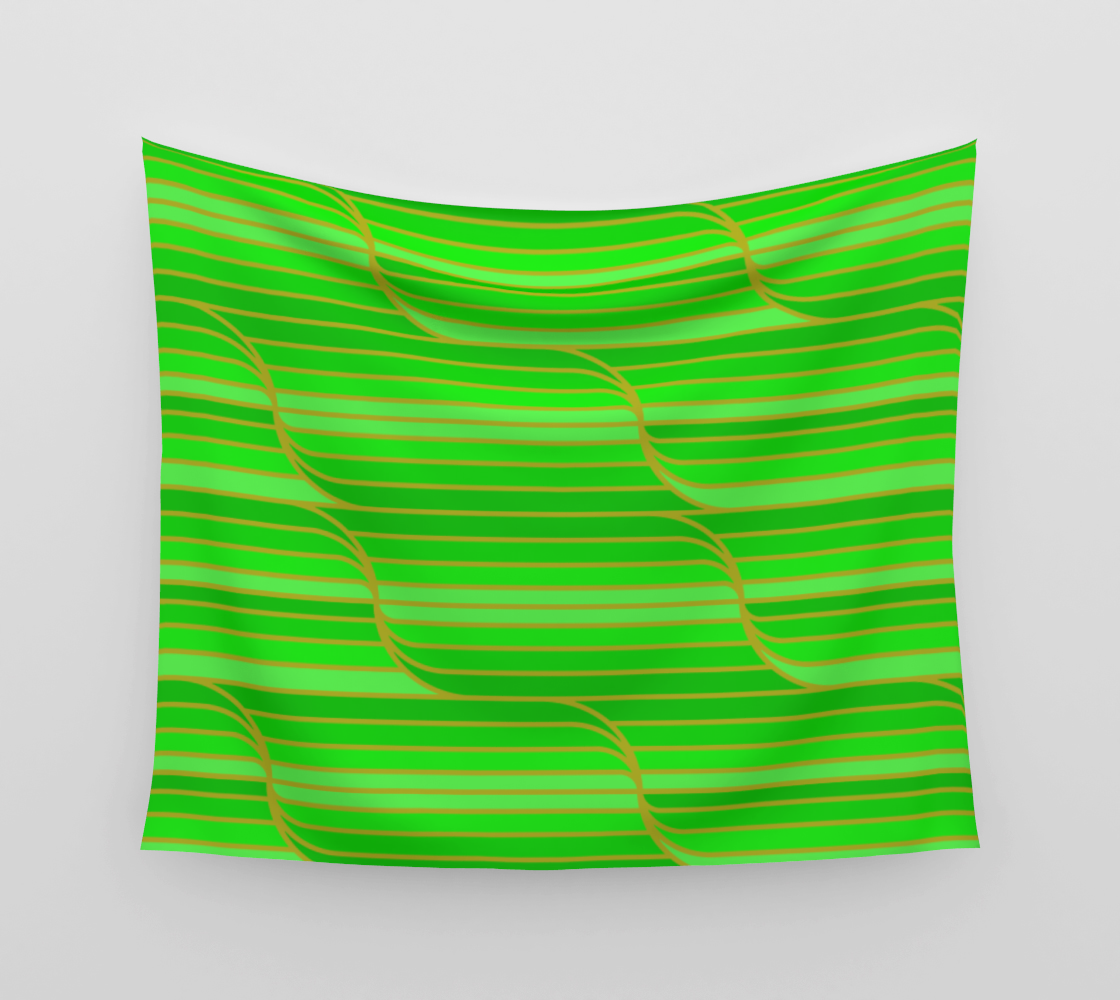 Geo Stripes - Green Wall Tapestry aperçu