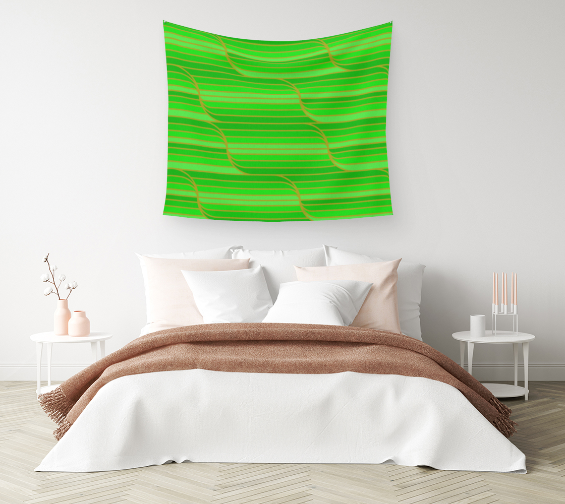 Aperçu de Geo Stripes - Green Wall Tapestry #1