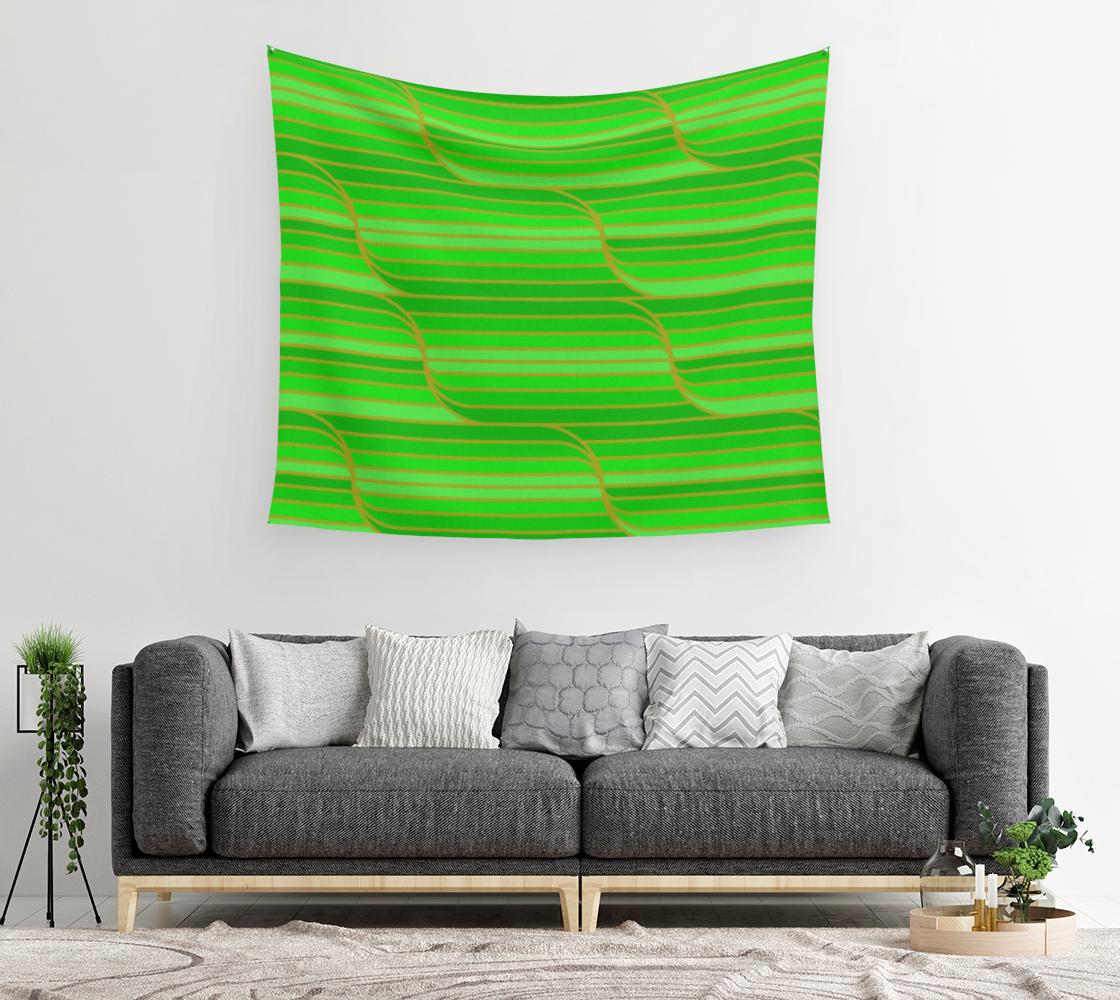 Aperçu de Geo Stripes - Green Wall Tapestry #2
