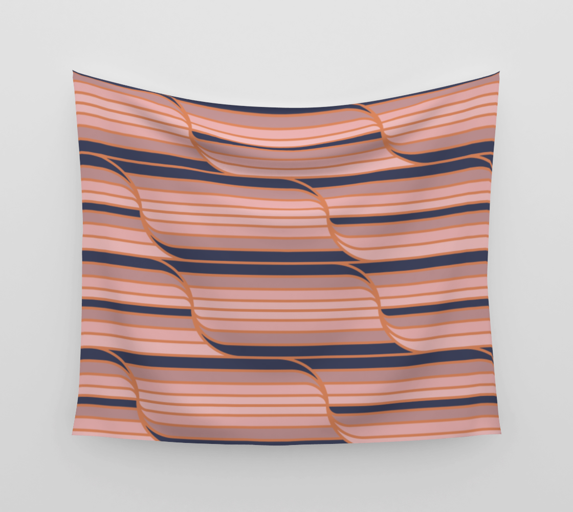 Geo Stripes - Navy & Neutral Wall Tapestry aperçu
