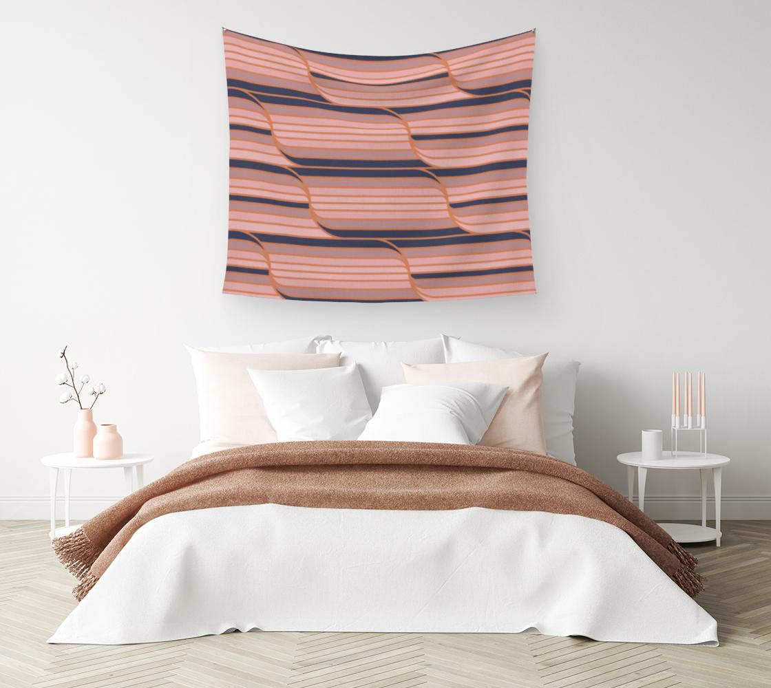 Aperçu de Geo Stripes - Navy & Neutral Wall Tapestry #1