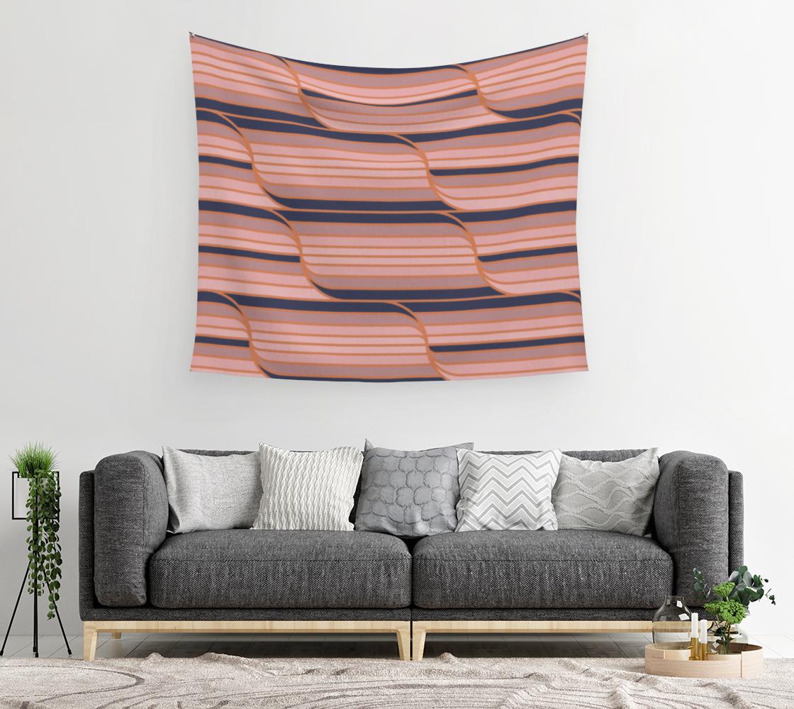 Aperçu de Geo Stripes - Navy & Neutral Wall Tapestry #2