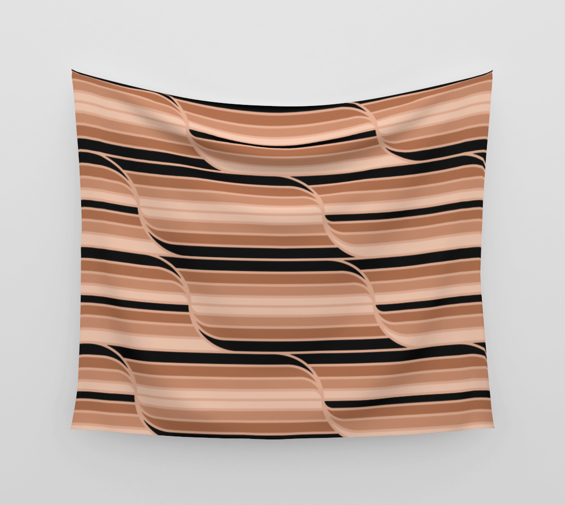 Geo Stripes - Black & Neutral Wall Tapestry aperçu