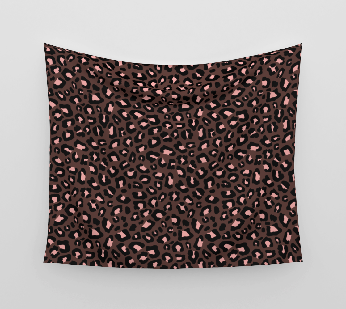 Leopard Print 2.0 - Brown & Blush Wall Tapestry preview