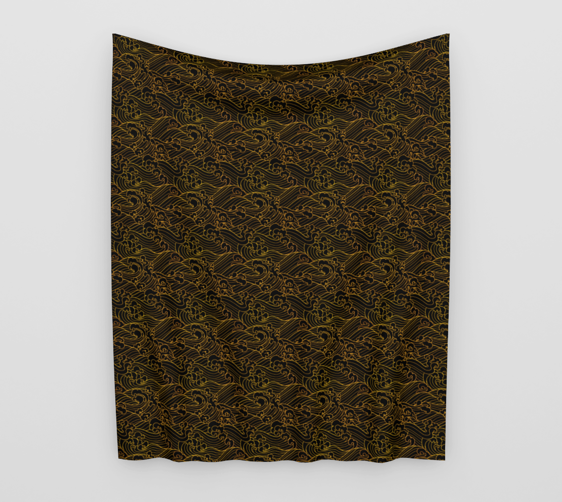 Golden Waves in Black Wall Tapestry  preview