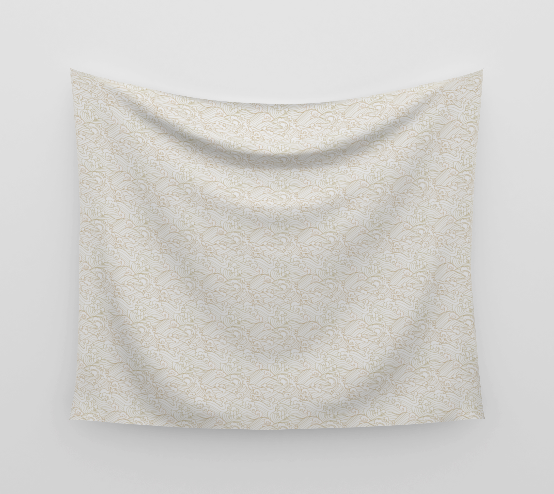 Golden Waves in White Wall Tapestry  preview