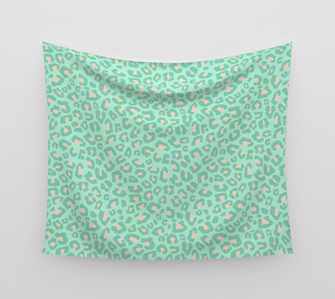 Leopard Print 2.0 - Neo Mint Wall Tapestry preview
