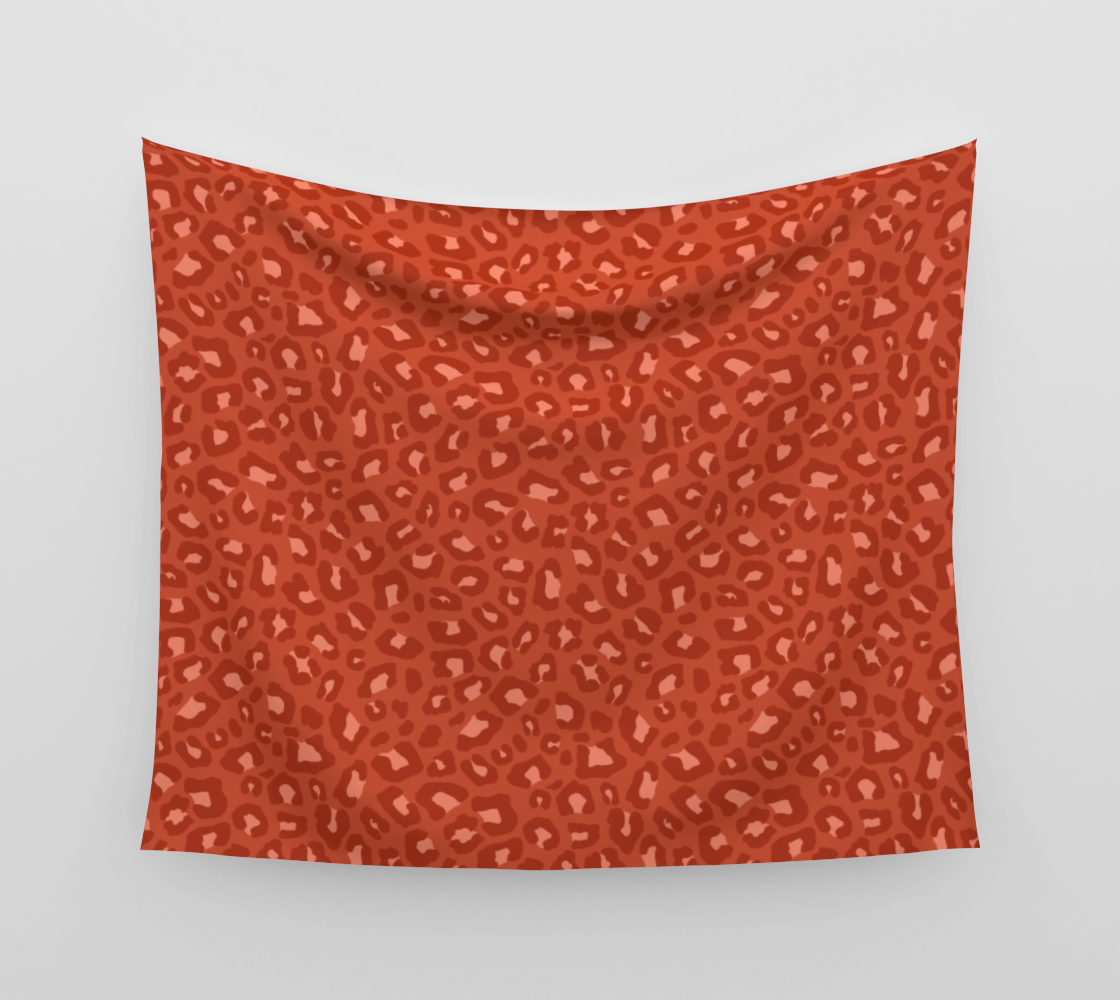 Leopard Print 2.0 - Rust Orange Wall Tapestry preview