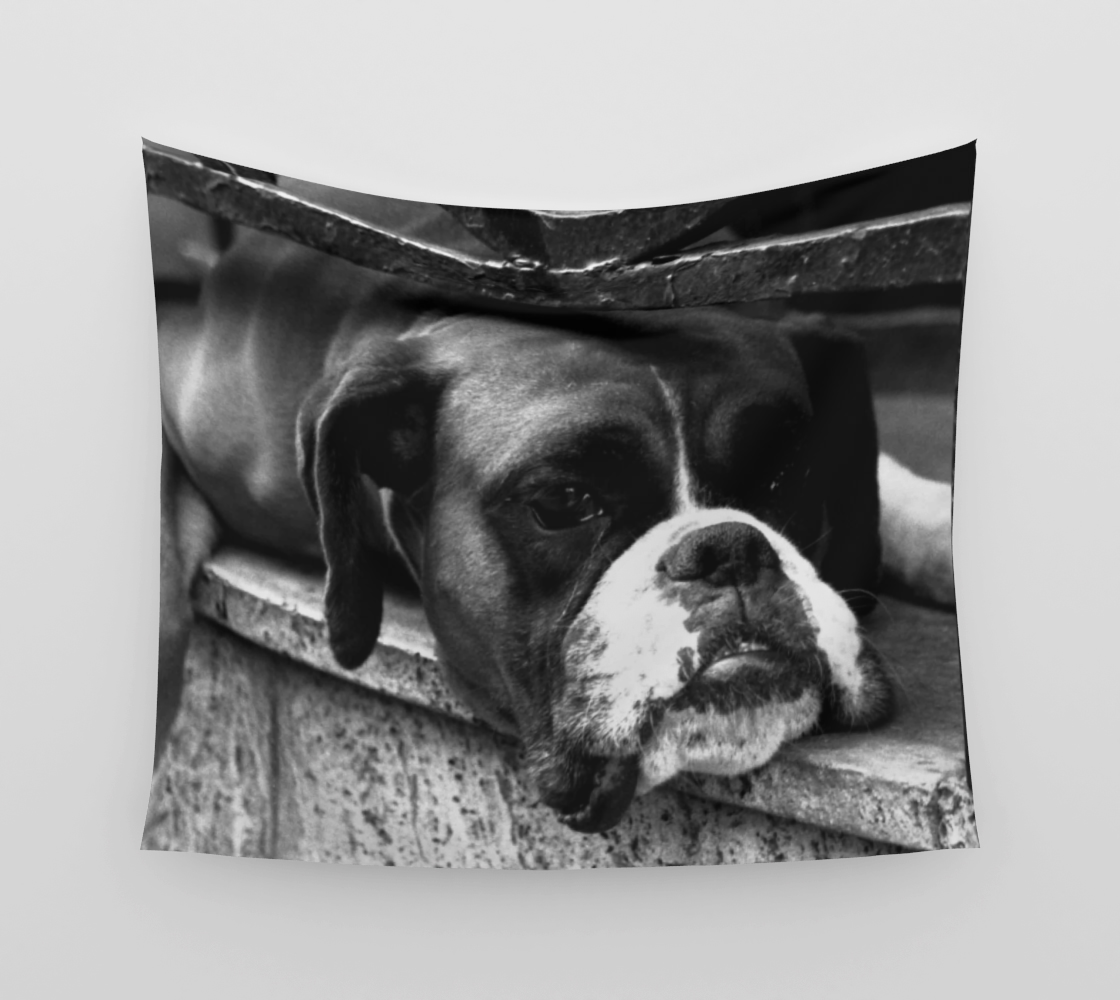Boxer Dog On Windowsill Wall Tapestry preview