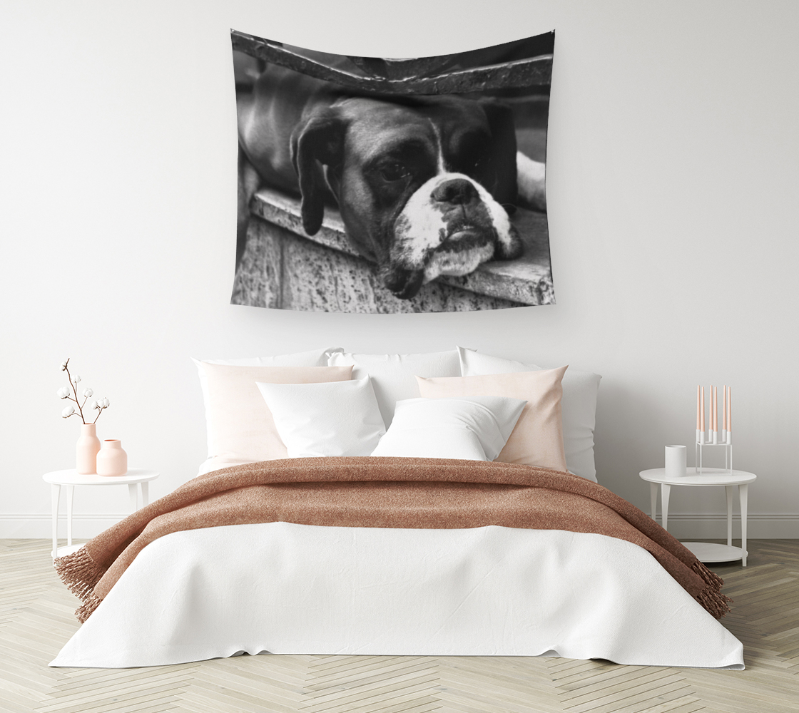 Boxer Dog On Windowsill Wall Tapestry 3D preview