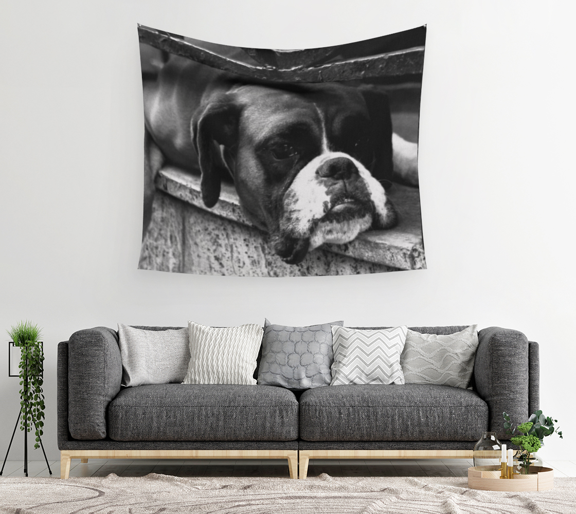 Boxer Dog On Windowsill Wall Tapestry preview #2