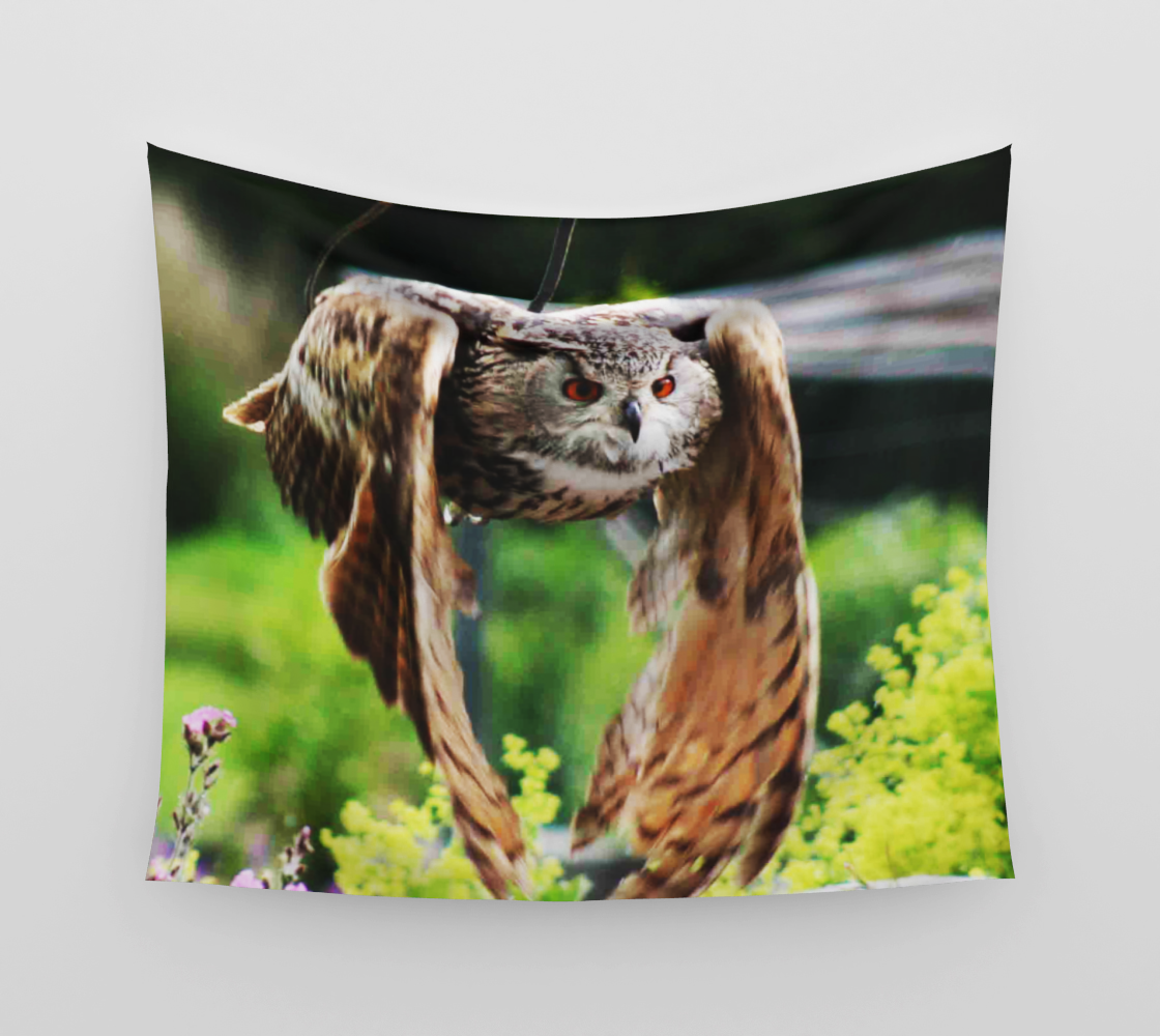 Owl In Flight Wall Tapestry preview
