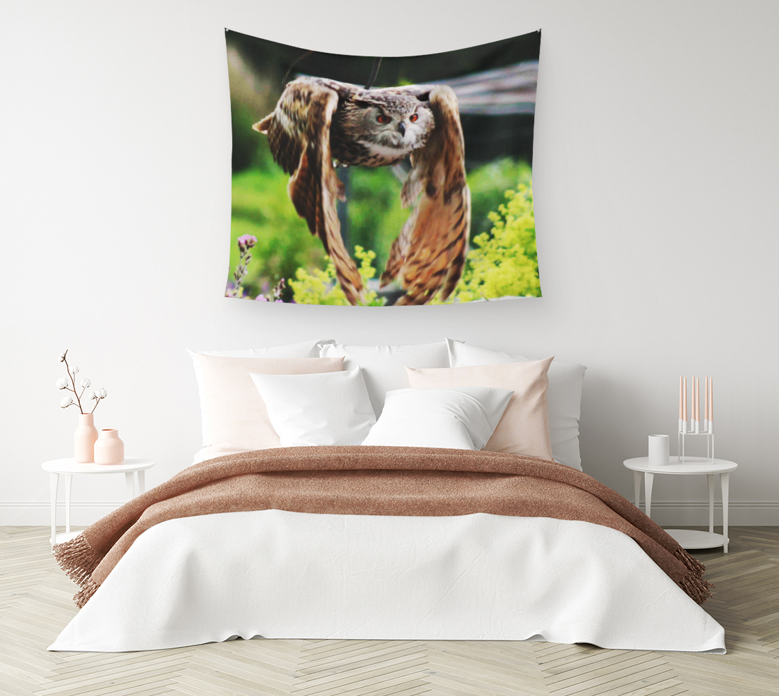 Owl In Flight Wall Tapestry preview #1