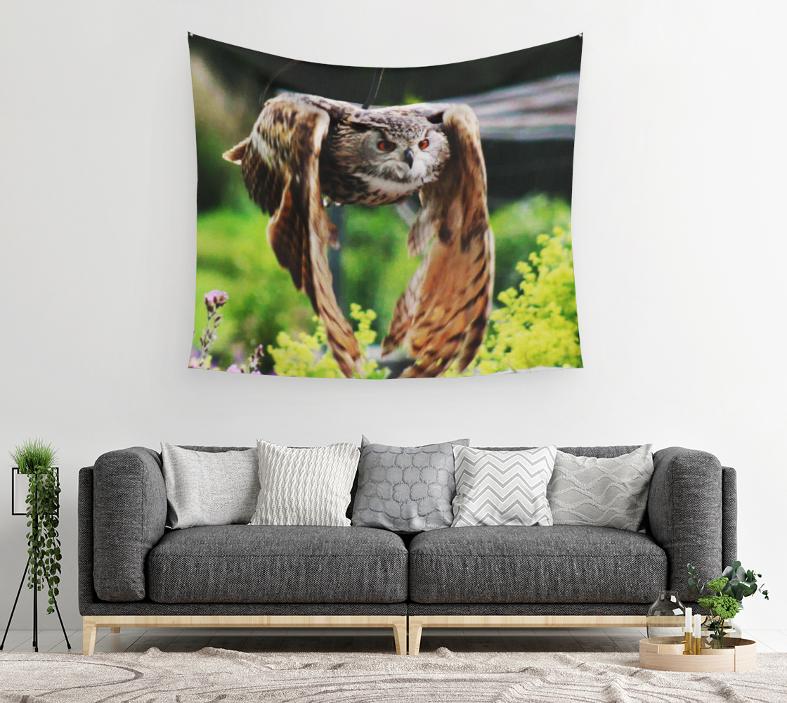Owl In Flight Wall Tapestry preview #2